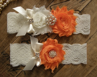Orange Wedding Garters / Garter / Bridal Garter / Toss Garter / Vintage Inspired / Garter Set / Lace Garter