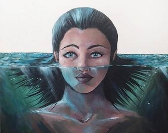 """20in x 20in """"Aquatic"""" painting"""