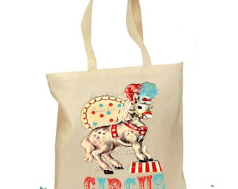 Circus Horse Tote - Circus Party Bag - Horse Party Bag - Personalized Tote Retro Gift Horse Big Top Birthday Canvas Vintage - 2 Sizes