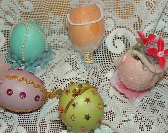 5 Real Eggshells hand decorated and embellished with Beads, Sequins, Trims and Lace