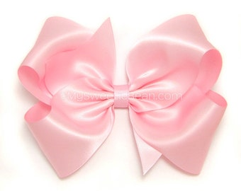 """Pink Satin Hair Bow, Extra Large Satin Bow, 6 Inch Satin Bow for Girls, Soft Pink Bow for Flower Girls, Weddings, Womens Hair Bows, 6"""" Bow"""