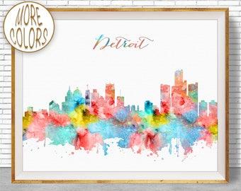 Detroit Art Detroit Skyline Detroit Print Detroit Michigan Office Decor Office Art Watercolor Skyline Watercolor City Print ArtPrintZone