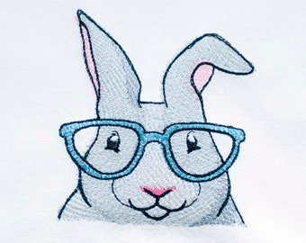 Bunny with Glasses Tea Towel | Embroidered Towel | Embroidered Kitchen Towel | Personalized Dish Towel | Hand Towel | Embroidered Tea Towel