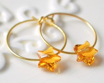 Star Earrings, Swarovski Crystal, Small Silver or Gold Plated Hoops, Light Topaz Yellow Jewelry