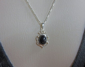 Black Onyx Necklace - Sterling Silver & Black Onyx Necklace - Very Pretty and Elegant Necklace