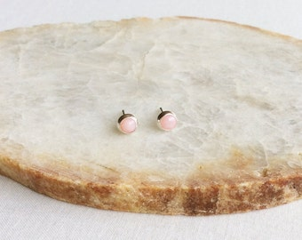 4mm Pink Opal Stud Earrings, Pink Opal Earrings, October Birthstone Jewelry, Sterling Silver Stud Earrings, Pink Stud Earrings, Pink, GSBE53