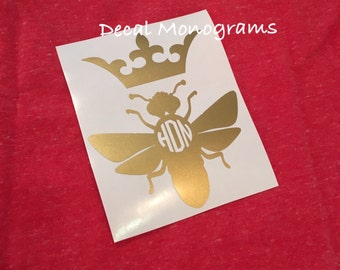Monogrammed Bee with Crown Vinyl Decal