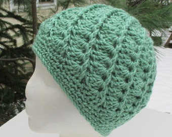 Crocheted Womans Hat - Sage Green - Beanie, Cloche