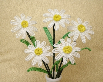 5 White Daisies .. yellow centers .. French Beaded Flowers