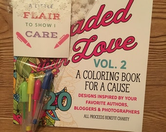 Adult coloring book, pens, and card