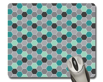 Teal and Gray Honeycomb Rectangle Mousepad