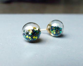 Earrings - Mystic Glitter Black Gold