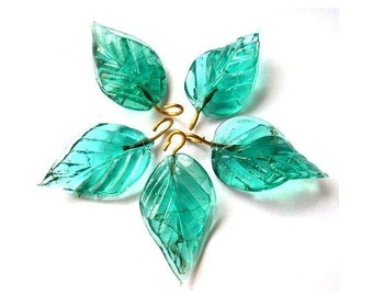 7 Vintage glass dangling beads leaf shape blue green 27mm X15mm