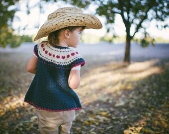 Heart Crochet Pattern for Girls Fair Isle Sweater No. 2