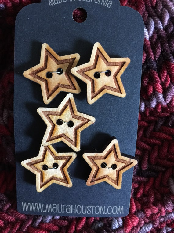 """Set of 5, 1"""" Star buttons"""