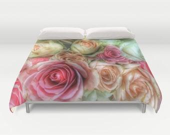 ROSES Duvet Cover, Pink Cream Bedding, Flower bedding, Unique design,Flower,Twin,Full Queen,King,Retro, Vintage, Dorm, Drama, Valentine's