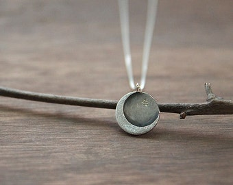Sterling Silver Crescent Moon Pendant, Moon Necklace, Crescent Moon Pendant Charm Necklace, Cubic Moon pendant, Sterling Silver Moon Jewelry