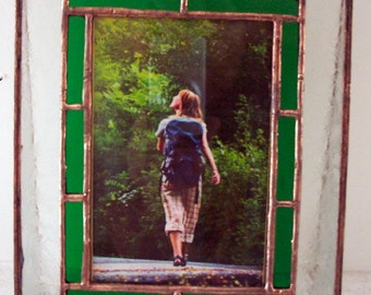 Stained Glass Picture Frame, Green Border