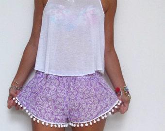 Pom Pom Shorts - Lilac and White pattern with White Pom Pom Trim - lightweight chiffon