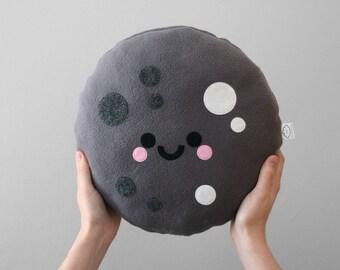 Moon Cushion, Cute Pillow, Space Decorative Accessory, Grey Room Decor