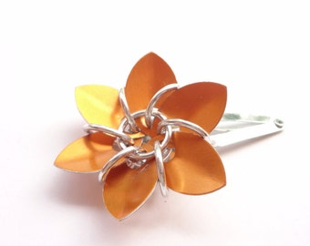 Orange Flower Barrette Made From Anodized Aluminum Scalemaille