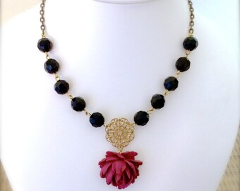 Juliette a little less Drama Rose and Crystals Cabernet Statement Necklace Bridal Bridesmaid Wedding Jewelry