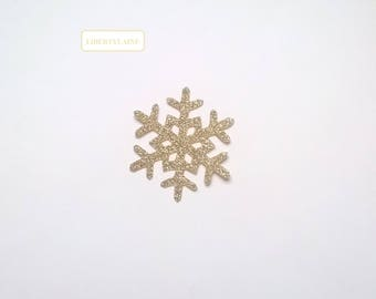 Applied fusible snowflake 5 CM clear glittery gold star shaped