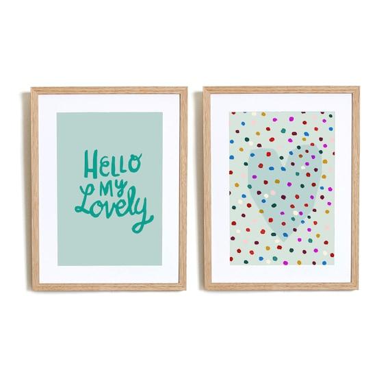 Set of 2  Hello My lovely in Blue  Wall art prints nursery illustration kids decor