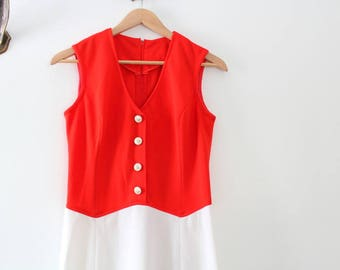 Vintage Dress, Red Dress, Colorblock Dress, Red & White Dress, Red and White Sleeveless Dress, Pencil Dress, Wiggle Dress, Red Wiggle Dress