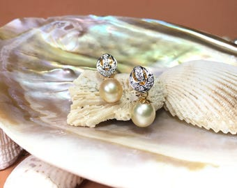 Cream Color Dangle & Drop South Sea Pearl Earrings