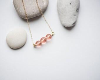 The Rose Quartz Necklace. Gold necklace. Rose quartz necklace. Beaded necklace. Gemstone necklace. Minimalist necklace.