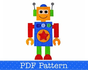 Robot Applique Template.  Make Your Own Appliques. PDF Pattern by Angel Lea Designs, Instant Download