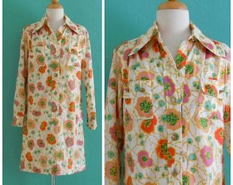 vintage 70's poppy print cotton shirt dress