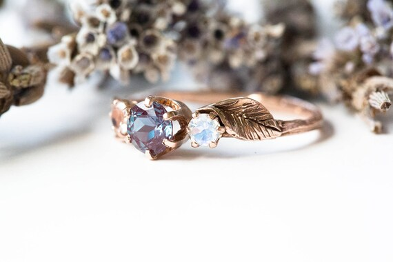 Alexandrite leaf engagement ring, moonstone gold engagement ring, alternative engagement ring, gold alexandrite twig ring, leaf engagement