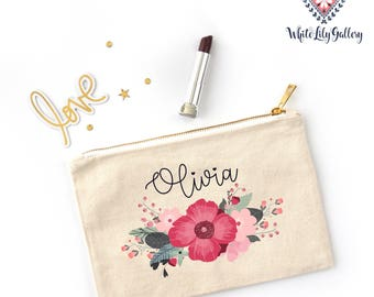 Personalized Name Makeup Bag, Bridesmaid Gift, Makeup Pouch, Bridesmaid Gift, Bridal Party Gift, Bride Gift, Gift for wife, Gift for Women.