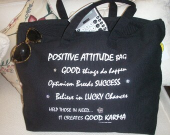 GOOD KARMA tote bag with Positive Attitude message with crystals, 100 % cotton canvas hand decorated and hand silk screened cotton canvas