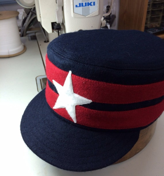 Knoxville Holstons vintage base ball team boxcap. Navy Melton wool, red wool bands, white felt star. Cotton or leather sweatbands, any size.
