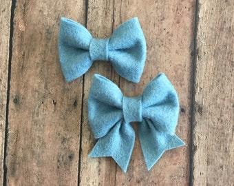 Slate Blue Felt Bow on Metal Clip, Hair Tie, or Elastic Headband; Buy 3 Get 1 Free! Small Felt Hair Bow, Slate Hair Bow, Blue Felt Bow
