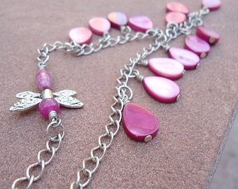Hot Pink Necklace - Silver Jewelry - Dragonfly Jewellery - Fuschia - Shell Gemstone - Chain - Color Block - Neon - Fashion N-23