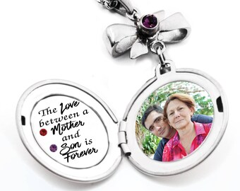 Mother Son Necklace, Mother Son Photo, Gift to Mom from Son, The Love between a Mother and Son quote, engraved stainless steel