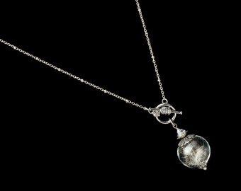Wish Necklace in Glass Orb with Silver Filigree, Real Dandelion Seeds, Swarovski Crystal & Genuine Pearl, Wedding Jewelry, Gift For Her