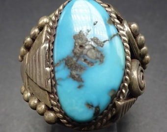 Vintage NAVAJO Intricate Sterling Silver & MORENCI TURQUOISE Ring, size 11