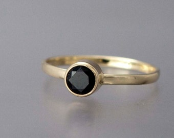 Black Diamond Engagement Ring in Solid 14k Yellow, White or Rose Gold