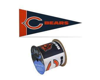 "2.5"" NFL Chicago Bears Ribbon, 9 feet & Mini Pennant, Licensed NFL Offray Ribbon"