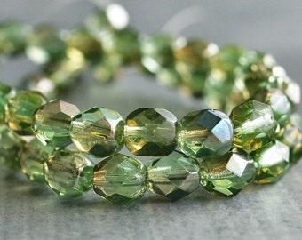 Czech Glass 6mm Chrysolite Celsian Faceted Round Bead : 25 pc Full Strand