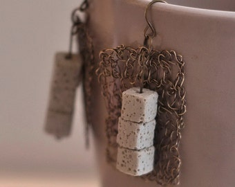 Earrings - wire crochet geometric cubism earrings antiqued brass crocheted lace with natural volcanic lava cube stones wearable art jewelry