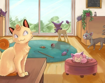 Chat Pokemon Cafe | affiche de Pokemon, pokemon imprimer, nintendo affiche, affiche du jeu vidéo, Pokémon art, poster anime, décor gamer