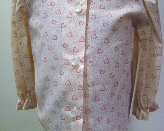 Girls Blouse in White with Salmon Pink Flowers and Ivy   - Size 2T