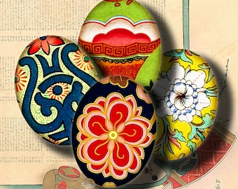 Asian Ornament (9) Digital Collage Sheet - 63 Ovals 18x25mm - 30 motifs with vibrant oriental floral - See Promo Offer
