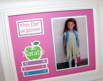 First Day of School Photo Keepsake Mat - Personalized - Back To School Picture Mat - 8x10 UNFRAMED - ANY COLORS